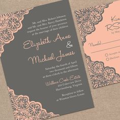 Printable Wedding Invitation Set // Rustic Lace by MyCrayonsDesign