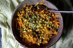 Carrot Salad with Tahini and Crisped Chickpeas by smittenkitchen #Salad #Carrot #Chickpea #Tahini #Pistachios #Healthy