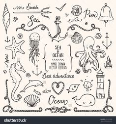Sea Life, Ocean Trip, Summer Marine Cruise, Seafood, Pier Restaurant Design Elements. Collection Of Hand Drawn Illustration: Lighthouse, Octopus, Anchor, Jellyfish, Cordage Frame. Isolated Vector Set. - 421222468 : Shutterstock