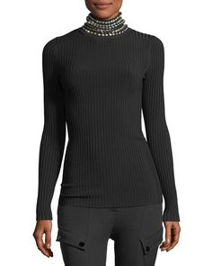 Alexander Wang Crystal-Trim Ribbed Turtleneck Sweater 43a6c524c