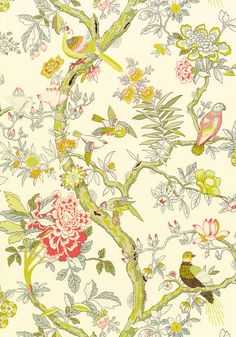 T6059 Pattern 	PAPAGAYO Wallpaper Collection 	Anniversary Colorway 	Cream
