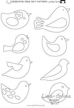 42 Ideas For Embroidery Patterns Birds Felt Ornaments Felt Patterns Free, Felt Ornaments Patterns, Felt Crafts Patterns, Bird Patterns, Applique Patterns, Doll Patterns, Felt Christmas Decorations, Felt Christmas Ornaments, Origami Design