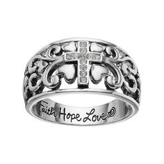"""love this life Silver Plated """"Faith Hope Love"""" Crystal Cross Ring, Women's, Size: 7, Grey"""
