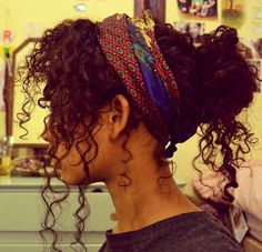 Curly hair updo and scarf