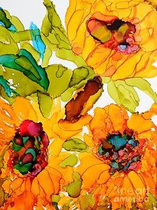 Alcohol Ink Painting - Sunflower Trio by Vicki Housel