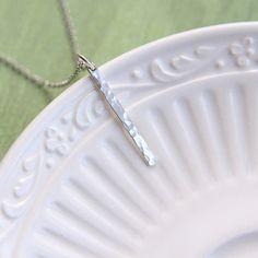 Sterling Silver Bar Necklace Skinny Bar Necklace Hammered