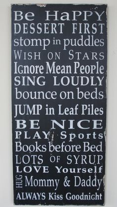 Family Rules Sign by the Kids Typography Word by barnowlprimitives