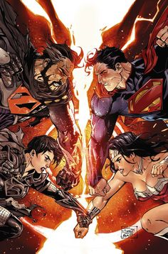 Superman and Wonder Woman vs General Zod and Faora by Tony Daniel, colours by Tomeu Morey *