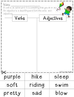 FREEBIE - Parts of Speech sort: verbs, adjectives