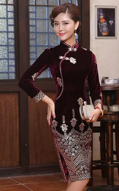 Silver gold embroidered dark burgundy red silk velvet autumn winter cheongsam short modern qipao dress 005