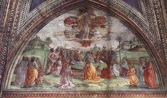 Domenico Ghirlandaio - parete di sinistra - Storie di Maria - 08, Morte e Assunzione della Vergine (lunetta) - affresco - 1486-90 - Cappella Tornabuoni - Basilica di Santa Maria Novella, Firenze