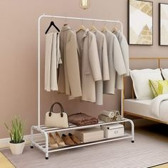 Hanging Clothes Rail, Hanging Racks, Clothes Rack Bedroom, Clothes Racks, Open Clothes Storage, Clothes Storage Without A Closet, Clothes Storage Ideas For Small Spaces, Clothing Storage, Hanging Storage