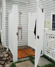 Barnstable Outdoor Shower Enclosure Kit in AZEK - Attached Barnstable AZEK Attached - Installed Outdoor Baths, Outdoor Bathrooms, Outdoor Camping Shower, Outdoor Showers, Outdoor Toilet, Outdoor Dog, Outdoor Shower Enclosure, Outside Showers, Outdoor Glider