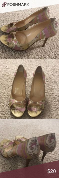 Cole Haan satin pink paisley peep toe. Worn once or twice to weddings these shoes are meant to impress!  Gorgeous gold and pink paisley pattern will match many colors! Cole Haan Shoes Heels