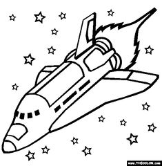 Space shuttle free coloring page