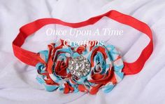 Red and Turquoise Shabby Chic Flower Rose Headband - Dr. Seuss Birthday Inspired - Photo Prop - Newborn Baby Hairbow - Little Girls Hair Bow on Etsy, $4.99