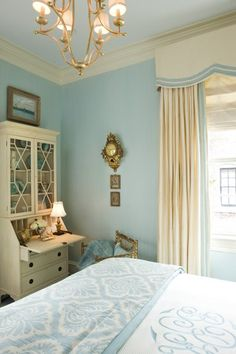 Blue/White French bedroom - love furniture, pelmet, light fixture, blue walls  & bedcovers. - Love everything!!