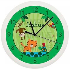 Rain forest #jungle wall #clock nursery #safari personalized boys baby shower gif,  View more on the LINK: 	http://www.zeppy.io/product/gb/2/291263668171/