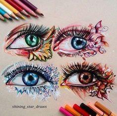 Seasonal eye art by - Art Sketches Creative Pencil Art Drawings, Art Drawings Sketches, Cute Drawings, Amazing Drawings, Beautiful Drawings, Amazing Art, Awesome, Eyes Artwork, Inked Magazine