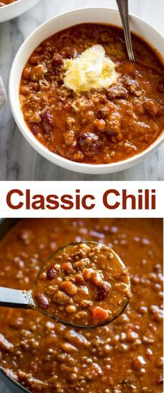 A Classic Homemade Chili recipe made with ground beef (or ground turkey). See step-by-step photos and tips for how to make chili on the stovetop or in the slow cooker. via # chili recipe easy stovetop Classic Homemade Chili Slow Cooker Chili, Slow Cooker Recipes, Crockpot Recipes, Cooking Recipes, Healthy Recipes, Chilli Recipes, Bean Recipes, Soup Recipes, Dinner Recipes
