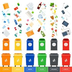 Buy Trash Cans with Sorted Garbage by mountainbrothers on GraphicRiver. Garbage cans vector flat illustrations. Many garbage cans with sorted garbage. Ecology and recycle c. Reduce Reuse Recycle, How To Recycle, Garbage Can, Garbage Waste, Recycling Bins, Flat Illustration, Free Vector Art, Sustainable Living, Ecology