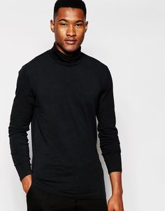 """T-shirt by Minimum Clothing Soft-touch jersey Added stretch for comfort Roll neck Regular fit - true to size Machine wash 95% Cotton, 5% Spandex Our model wears a size Medium and is 191cm/6'3"""" tall"""