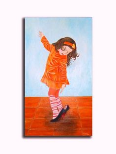 Little girl painting in oil  16x28i.Wall by OilpaintingsChrista, $180.00