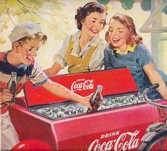 Coke Love old Coca Cola advertisements SO much! I don't even like Coke that much. Coca Cola Poster, Coca Cola Ad, Always Coca Cola, Pepsi, Coca Cola Vintage, Retro Ads, Vintage Advertisements, Pub Coca, Coke Ad
