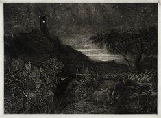 Samuel Palmer The Lonely Tower - 1879 Collage Illustration, Ink Illustrations, Black And White Landscape, Art Base, European History, Nocturne, White Art, Landscape Art, Great Artists