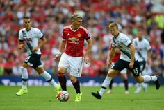 MANCHESTER, ENGLAND - AUGUST 08: Bastian Schweinsteiger of Manchester United in action during the Barclays Premier League match between Manchester United and Tottenham Hotspurs at Old Trafford on August 8, 2015 in Manchester, England.