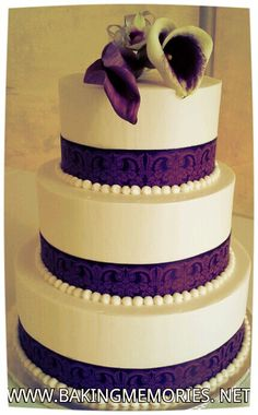 Purple wedding cake www.bakingmemories.net