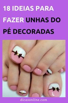 Unhas do pé decoradas: ideias e inspirações de cores, esmaltes e estilos para fazer nas unhas dos pés #DicasOnline #Unhas #UnhasDecoradas #UnhasDoPeDecoradas #Pedicure #UnhasLindas #UnhasBonitas #ComoFazerAUnhaDoPe Fall Toe Nails, Pretty Toe Nails, Pretty Toes, Best Toe Nail Color, Fall Nail Colors, Toenail Art Designs, Manicure Y Pedicure, Beautiful Toes, Beaded Jewelry Patterns