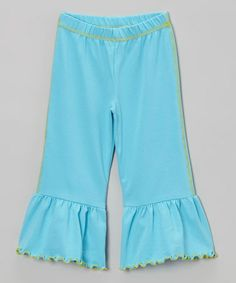 Take a look at this Turquoise Ruffle Capri Pants - Toddler & Girls by SILLY MILLY on #zulily today!