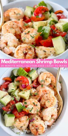 Mediterranean shrimp flavored with oregano, lemon juice & garlic, served with rice & cucumber tomato salad = an easy, healthy, gluten free 20 minute meal! Easy Mediterranean Diet Recipes, Mediterranean Dishes, Mediterranean Shrimp Recipe, Shrimp Recipes, Fish Recipes, Medditeranean Diet, Plats Healthy, Cooking Recipes, Seafood