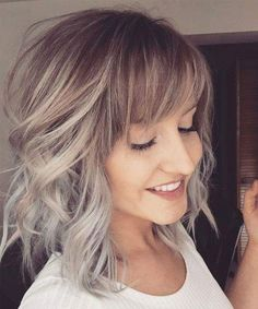 Fabulous Medium Ombre Hairstyles with Bangs for Women