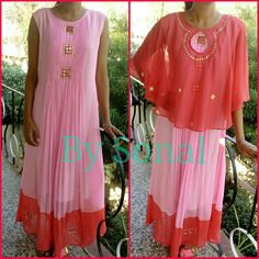 Beautiful indo westren pink  color kurtis with cape. 22 June 2017