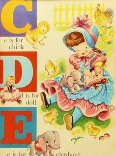 1940s Alphabet Letter C D E Childrens Print, Vintage Illustration (Matted ABC Page Frames Immediately). $10.00, via Etsy.