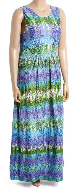 Blue Arabesque Keyhole-Back Maxi Dress - Plus *** Click on the image for additional details.