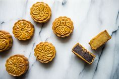 Cynthia of Two Red Bowls is bringing traditional Cantonese mooncakes stateside, showing us how to make them right in time for the Mid-Autumn festival. How To Make Mooncake, No Bake Desserts, Dessert Recipes, Baking Recipes, Chinese Moon Cake, Mooncake Recipe, Bowls, Almond Cookies, Mid Autumn Festival