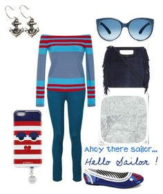 """""""Sailor 2"""" by ingridmv ❤ liked on Polyvore featuring Paige Denim, Rosetta Getty, Funtasma, Christian Lacroix, Maje, Iphoria, Femme Metale Jewelry and stripedshirt"""