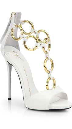 #GiuseppeZanotti #shoes #heels #white #gold with <3 from JDzigner www.jdzigner.com