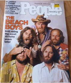 The Beach Boys, on the cover of People Magazine, Aug. 23, 1976. Story details the return of Brian Wilson, founding member and songwriting genius, to the band he created with his brothers Dennis and Carl, cousin Mike Love, and high school friend Al Jardine. Brian's struggles with drugs and alcohol, and his psychological problems and mental breakdowns are dealt with in detail, as Brian reunited with his band mates during their 15th year anniversary.