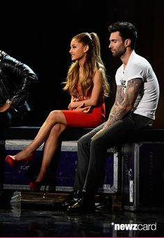 Musicians Ariana Grande (L) and Adam Levine onstage during A VERY GRAMMY CHRISTMAS at The Shrine Auditorium on November 18, 2014 in Los Angeles, California. (Photo by Frazer Harrison/WireImage)