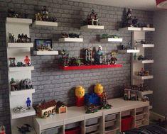 Ideas Kids Room Ideas For Boys Bedrooms Lego Table For 2019 Lego Shelves, Glass Shelves, Lego Display Shelf, Kids Room Shelves, Book Shelves, Wall Shelves, Deco Lego, Kids Room Paint, Lego For Kids