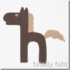 H is for Horse! Try this amazing alphabet craft from the Totally Tots blog. Click on the image above to learn how to make this cute craft, and what you'll need to make it. There will even be a suggested book to accompany your lesson. Why not make a craft today?