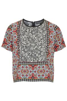 PETITE Scarf Border Print Top - New In- Topshop Europe
