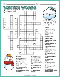 Early Finisher Winter Worksheet - Winter Crossword Puzzle by Puzzles to Print Holiday Games, Christmas Party Games, Christmas Activities, Holiday Fun, Activities For Kids, Xmas Games, Rainbow Activities, Christmas Crossword Puzzles, Christmas Worksheets