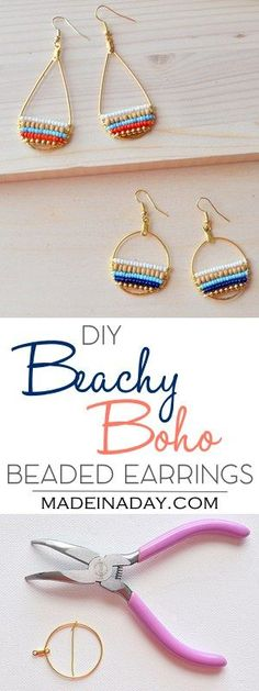 DIY Beachy Bohemain Beaded Hoop Earrings, Super fun layered beaded earrings, so cute & boho. Bohemian, beachy, trendy, hoop earrings, navy blue earrings, wood bead, beaded gold hoop earrings, anthrohack. Tutorial on madeinaday.com via @madeinaday