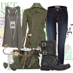 Military boots & jacket, jeans