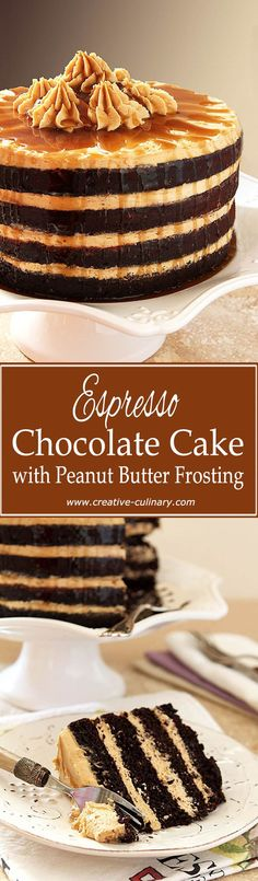 Espresso Chocolate Cake with Peanut Butter Frosting from @creativculinary
